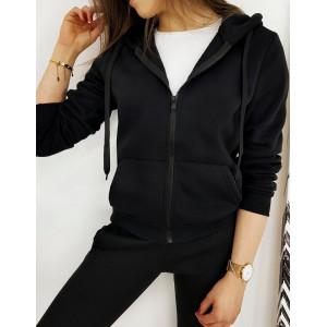 Pohodlná dámska jednofarebná mikina v čiernej farbe
