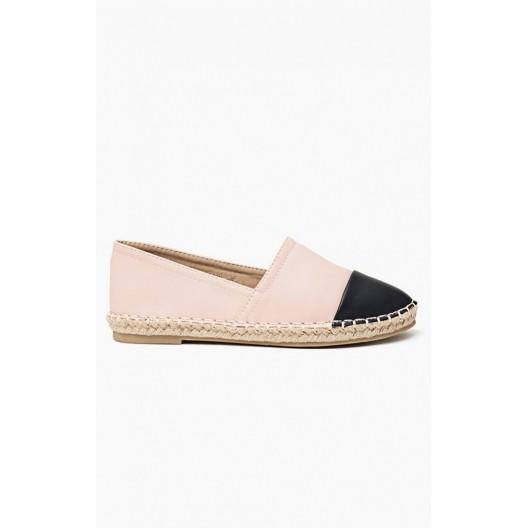 Dámska obuv ružové espadrilky s čiernou špičkou