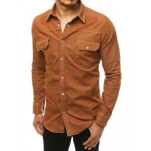 Pánska rifľová košeľa v hnedej farbe s dlhým rukávom