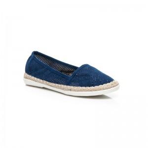Dámska obuv modré espadrilky s pleteným vrkočom okolo podrážky