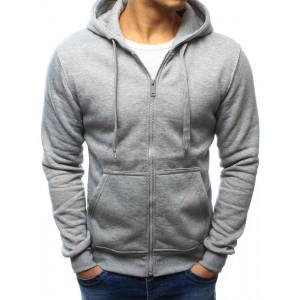 Pohodlná pánska sivá mikina na zips s kapucňou