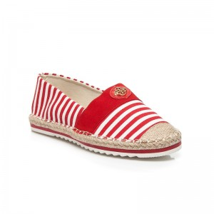 Prúžkované letné dámske espadrilky červeno bielej farby