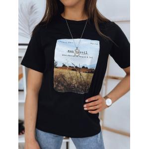 Pohodlné dámske tričko v čiernej farbe s krásnou potlačou