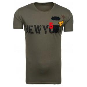 Pánske tričko s okrúhlym výstrihom v khaki farbe