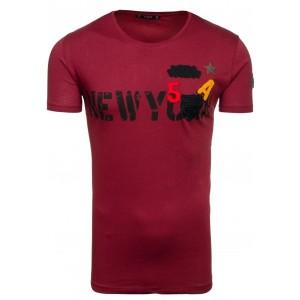 Moderné pánske tričko s nápisom v bordovej farbe