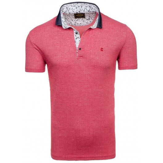 Pánske polo tričko červenej farby s krátkym rukávom