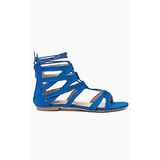 Gladiátorky modrej farby dámske zdobené viazaním