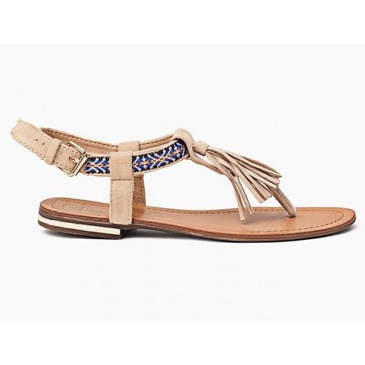 Letné béžové sandále pre dámy zdobené viazaním