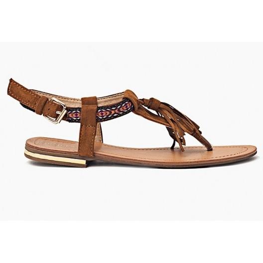 Nízke dámske sandále hnedej farby