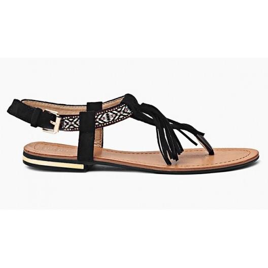 Štýlové dámske sandále v čiernej farbe s tenkou podrážkou