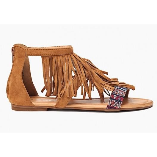 Moderné dámske sandále hnedé so strapcami