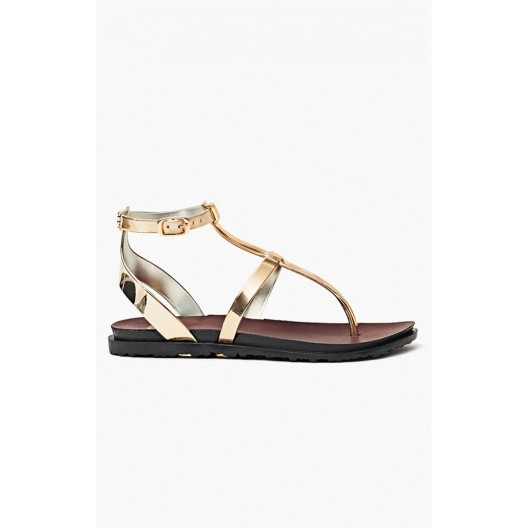 Zlaté sandále dámske s bočným zapínaním