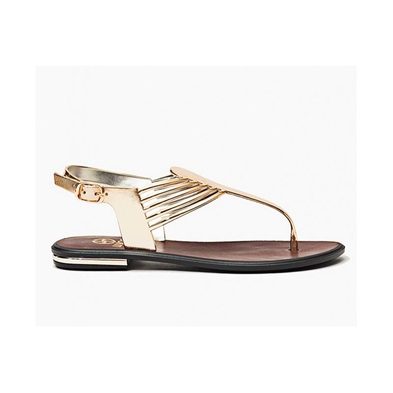 d8d99ee3b34e Nízke dámske sandále v zlatej farbe - fashionday.eu
