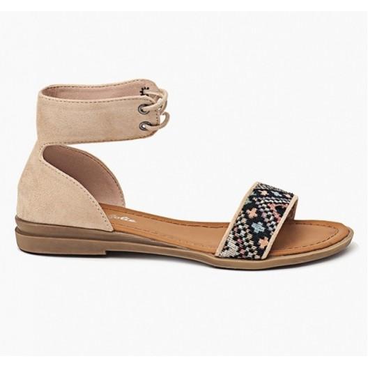Dámske sandále v béžovej farbe na šnurovanie