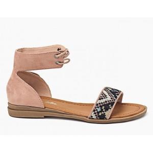 Letné ružové sandále pre dámy na šnurovanie