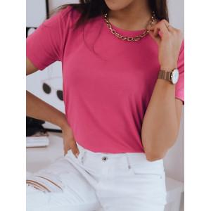 Jednofarebné dámske ružové tričko kolekcia BASIC