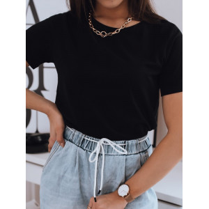 Čierne dámske jednofarebné tričko s krátkym rukávom