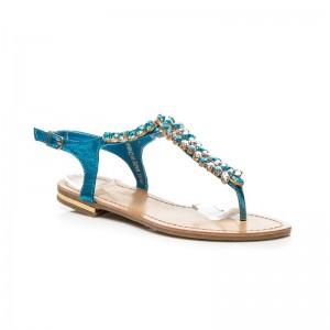 Nízke svetlomodré sandále pre ženy