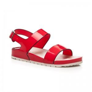 Dámske sandále červenej farby s bočným zapínaním