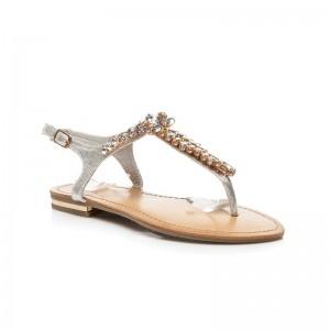 Dámske modné sandále strieborné s kamienkami