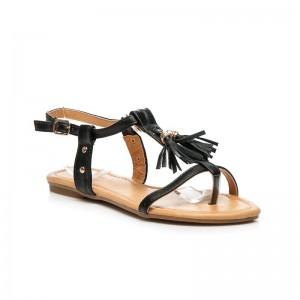 Trendy dámske sandále čiernej farby so strapcami