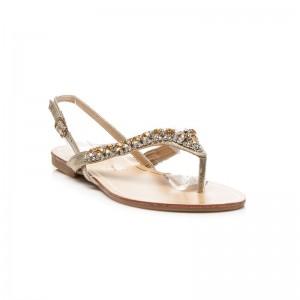 Letné žlté sandále pre dámy so zlatými kamienkami