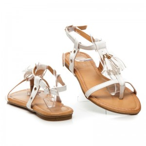 Sandále bielej farby dámske so strapcami