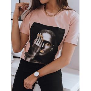 Ružové bavlnené dámske tričko s krátkym rukávom a potlačou