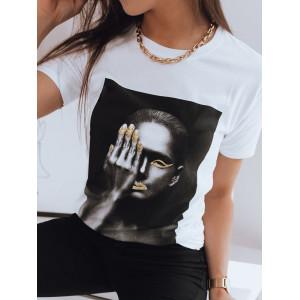 Kvalitné dámske biele tričko s módnou potlačou