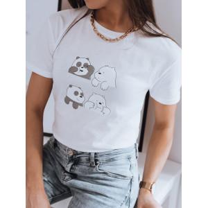 Biele dámske tričko s krátkym rukávom a roztomilým motívom pandy