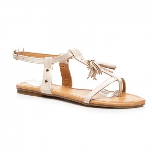 Béžové sandále pre ženy s bočným zapínaním