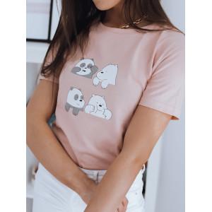 Bavlnené dámske ružové tričko s potlačou pandy