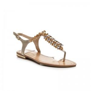 Dámske sandálky žltej farby so zlatými kamienkami