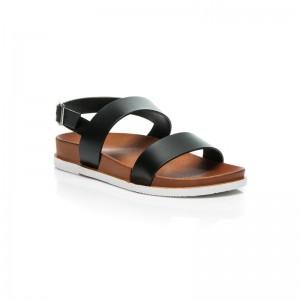 Letné dámske sandále v čiernej farbe so zapínaním na boku