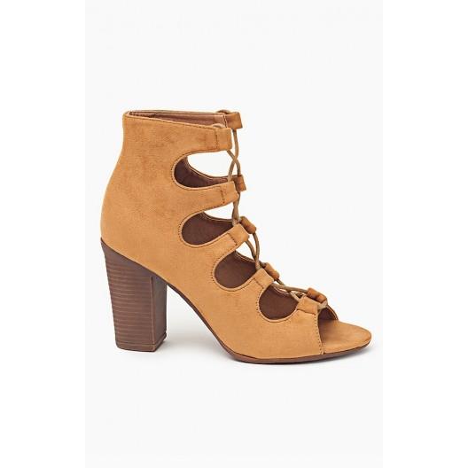 Dámske hnedé vysoké sandále s viazaním okolo nohy