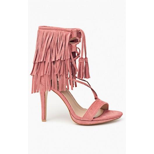 Ružové dámske sandále s viazaním okolo nohy