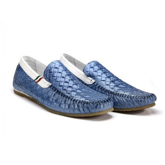 Pánske kožené preplietané mokasíny modrej farby COMODO E SANO