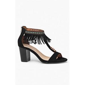 Letné čierne sandále pre ženy s hrubým opätkom