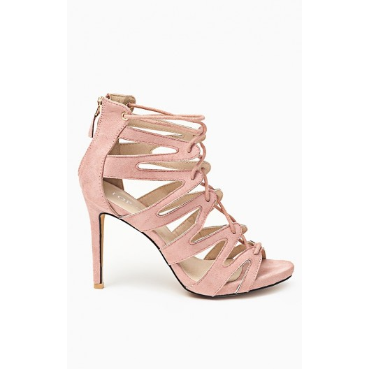 Ružové sandále pre ženy s ihlovým opätkom