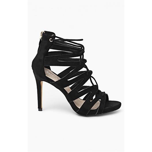 Čierne letné dámske sandále s viazaním okolo nohy