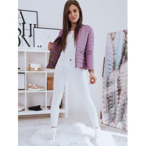 Štýlová dámska prechodná bunda na chladnejšie dni vo fialovej farbe
