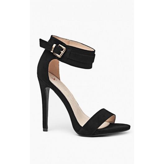 Dámske sandále čiernej farby s bočným zapínaním