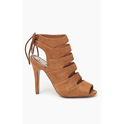 Hnedé dámske sandále s viazaním vzadu