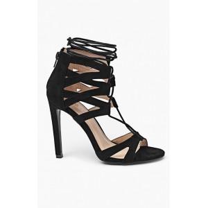 Sandále v čiernej farbe pre ženy s viazaním okolo nohy