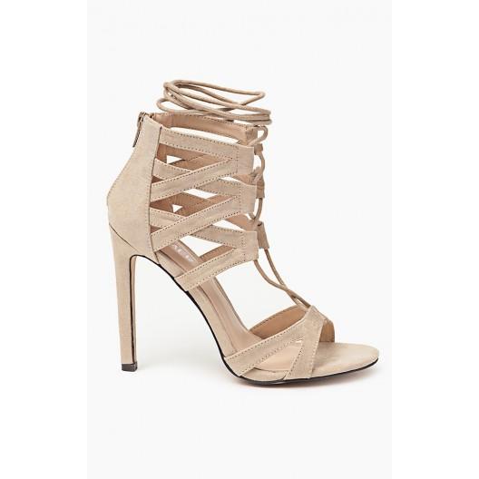 Prepletané letné dámske sandále v béžovej farbe