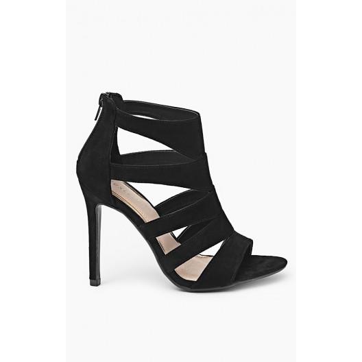 Elegantné čierne sandále pre ženy so zipsom na zadnej strane