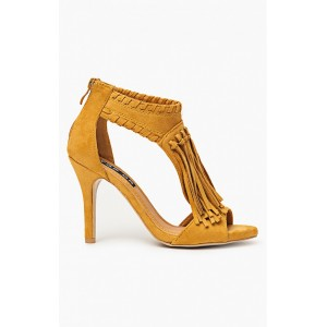 Dámske sandále žltej farby so strapcami