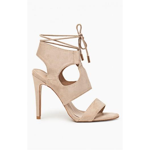 Sandále béžovej farby pre dámy s viazaním okolo nohy
