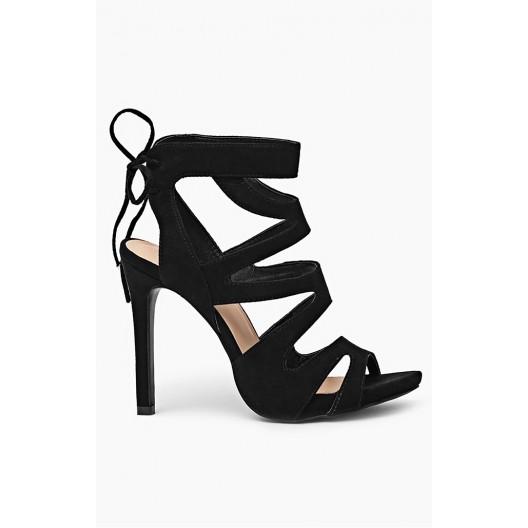 Čierne sandále pre ženy s viazaním vzadu