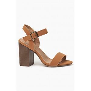 Sandále v hnedej farbe pre ženy s hrubým opätkom